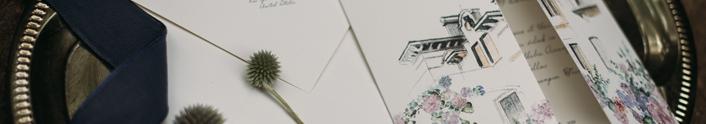 Tríptico con ilustración a lápiz y acuarela. Invitaciones de boda